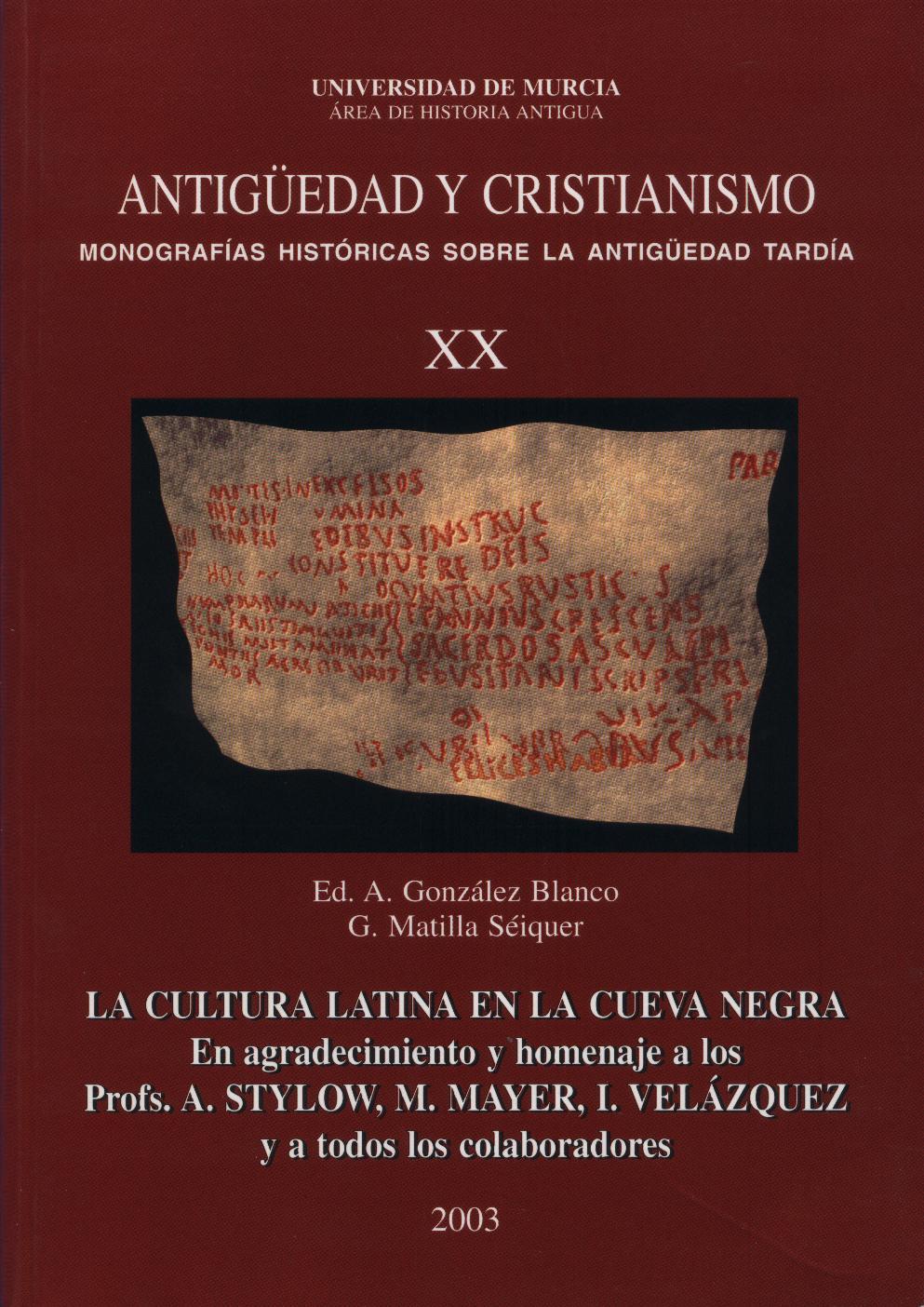 Ver Núm. 20 (2003): La cultura latina en la Cueva Negra