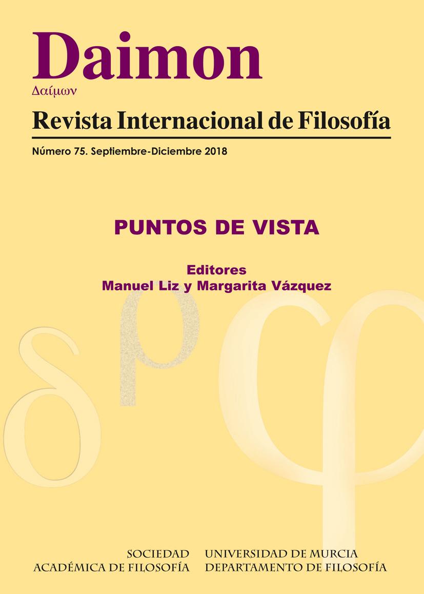 Portada del nº 75 (2018) de Daimon Revista Internacional de Filosofía. Monográfico sobre Puntos de Vista. Editado por Manuel Liz y Margarita Vázquez.